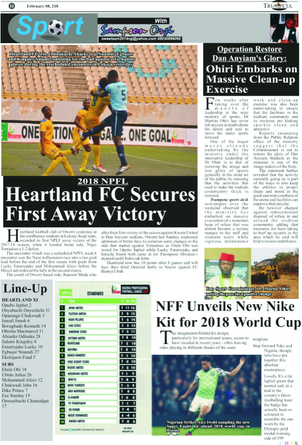 sports-II 2018 NPFL  Heartland FC Secures first Away Victory
