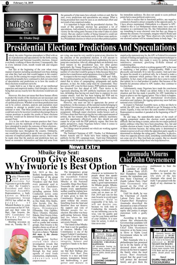 NEWS EXTRA 14, THURS 2019